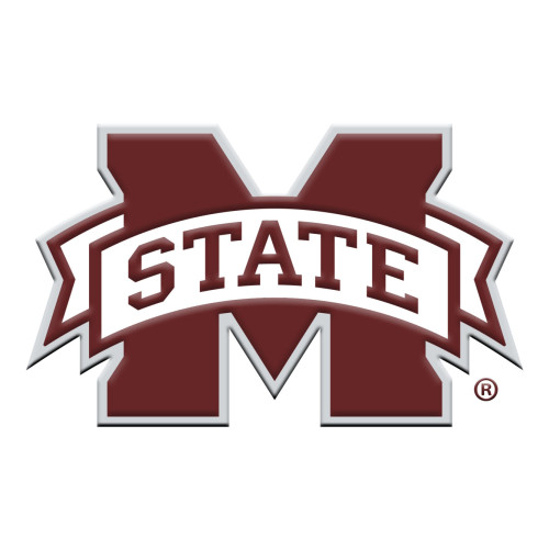 """Set of 2 Wine Red NCAA Mississippi State University Bulldogs Emblem Stick-on Car Decals 3"""" x 3"""" - IMAGE 1"""