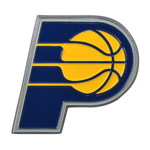 """Set of 2 Blue and Yellow NBA Indiana Pacers Emblem Stick-on Car Decals 2.5"""" x 3"""" - IMAGE 1"""