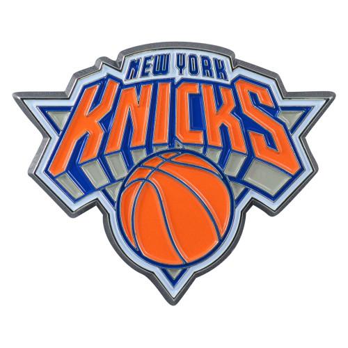 "Set of 2 Blue and Orange NBA New York Knicks Emblem Stick-on Car Decals 2.5"" x 3"" - IMAGE 1"