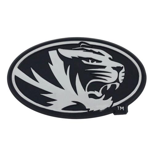"Set of 2 Black NCAA University of Missouri Tigers Emblem Automotive Stick-On Car Decals 1.5"" x 3"" - IMAGE 1"
