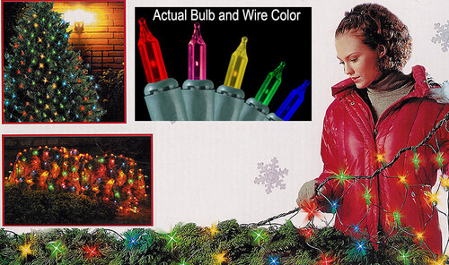 4' x 6' Multi-Color Mini Twinkling Net Style Christmas Lights - Green Wire - IMAGE 1