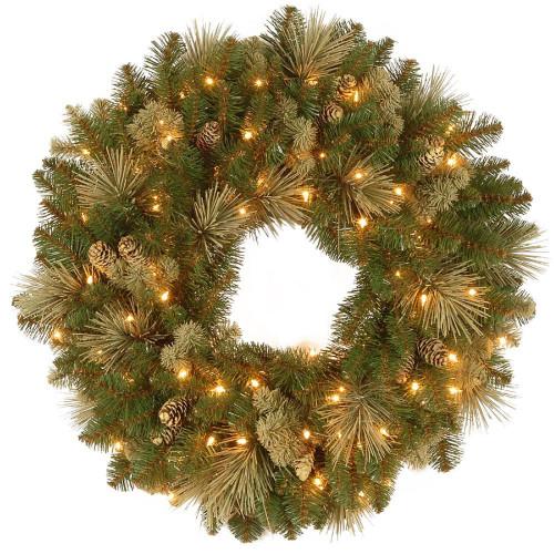 "30"" Carolina Pine Wreath with Clear Lights - IMAGE 1"