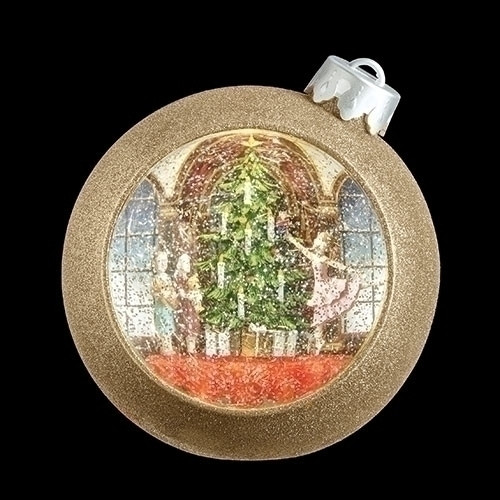 """Set of 2 Brown Confetti Themed Christmas Scene Swirl Dome Nutcracker Ballet with LED Light 7.5"""" - IMAGE 1"""