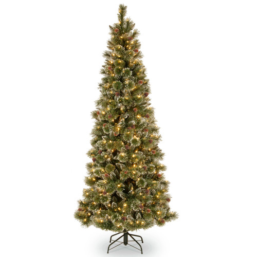 7.5' Pre-Lit Glittery Pine Christmas Tree – clear lights - IMAGE 1