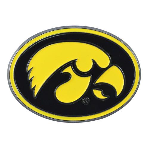 "Set of 2 Black and Yellow NCAA University of Iowa Hawkeyes Emblem Stick-on Car Decals 2"" x 3"" - IMAGE 1"