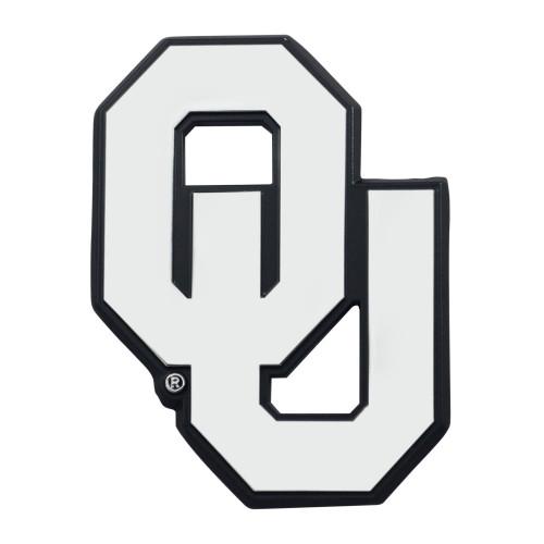 """Set of 2 White NCAA University of Oklahoma Sooners Emblem Automotive Stick-On Car Decals 3"""" x 2"""" - IMAGE 1"""
