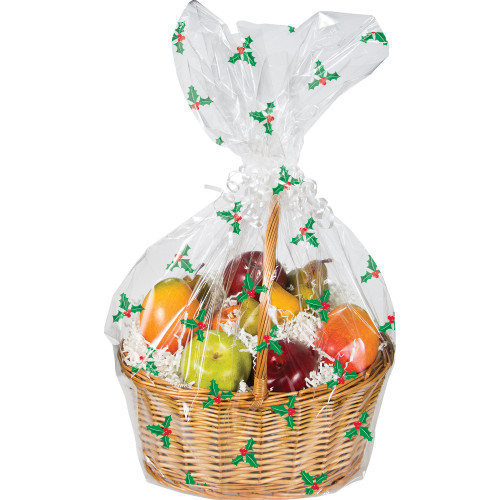 "Club Pack of 12 Christmas Holly Printed Large Cellophane Gift Basket Bags 25"" - IMAGE 1"