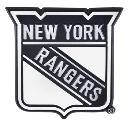 "Set of 2 Black NHL New York Rangers Emblem Automotive Stick on Car Decals 3.2"" - IMAGE 1"