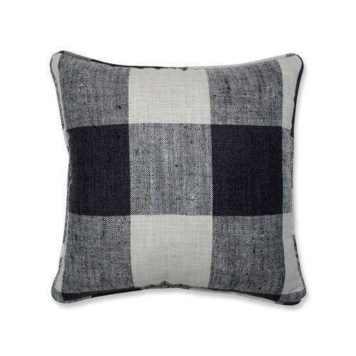 "16.5"" White and Black Plaid Motif Square Throw Pillow - IMAGE 1"