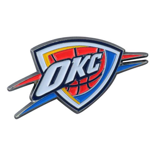 "Set of 2 Blue NBA Oklahoma City Thunder Emblem Stick-on Car Decals 1.75"" x 3"" - IMAGE 1"