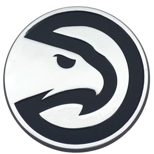 "Set of 2 White and Black NBA Atlanta Hawks Emblem Automotive Stick on Car Decals 2"" x 3"" - IMAGE 1"