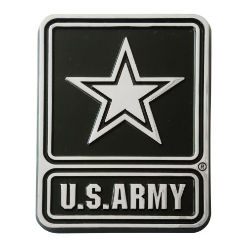 Set of 2  U.S. Army Chrome Emblem Automotive Stick-On Car Decal - IMAGE 1