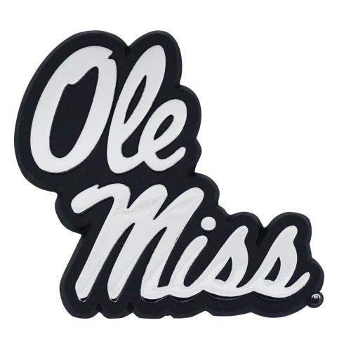 """Set of 2 Black University of Mississippi """"Ole Miss"""" Rebels Emblem Automotive Stick-On Car Decal 3"""" x 3.2"""" - IMAGE 1"""