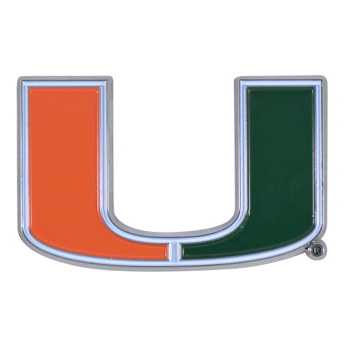 """Set of 2 Black and Red NCAA University of Miami Hurricanes Emblem Stick-on Car Decals 1.75"""" x 3"""" - IMAGE 1"""