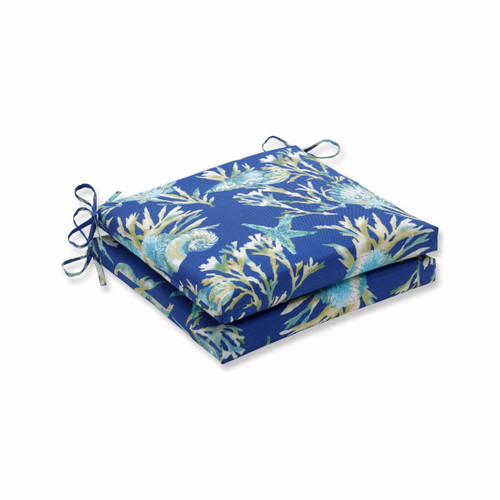 """Set of 2 Blue Tropical Print Square Outdoor Patio Corner Seat Cushion with Ties 20"""" - IMAGE 1"""