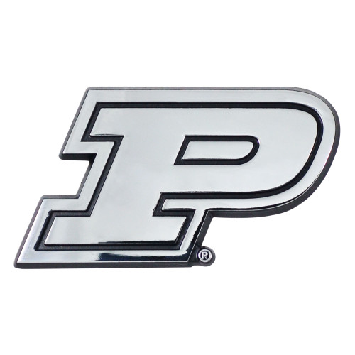 """Set of 2 Silver and Black NCAA Purdue University Boilermakers 3D Emblem Stick-On Car Decals 3"""" x 3"""" - IMAGE 1"""