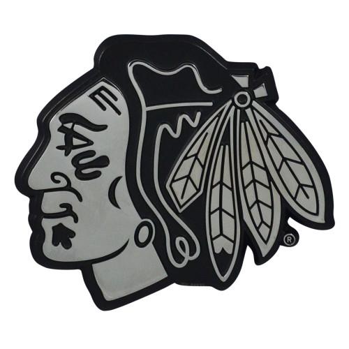 "Set of 2 Black NHL Chicago Blackhawks Emblem Automotive Stick-On Car Decals 2.5"" x 3"" - IMAGE 1"