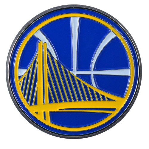 """Set of 2 Blue and Yellow NBA Golden State Warriors Emblem Stick-on Car Decals 2.5"""" x 3"""" - IMAGE 1"""