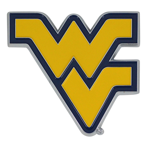 """Set of 2 Yellow NCAA West Virginia University Mountaineers Emblem Stick-on Car Decals 3"""" x 3"""" - IMAGE 1"""