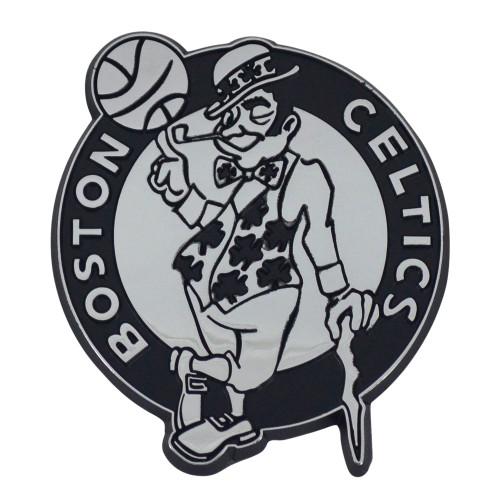 "Set of 2 NBA Black and White Boston Celtics Emblem Automotive Stick-On Car Decals 3"" x 3"" - IMAGE 1"
