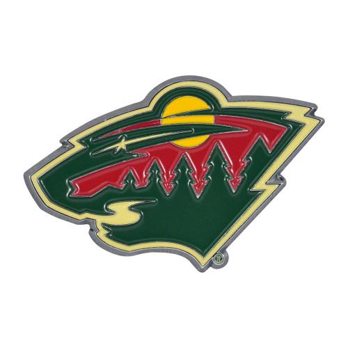 "Set of 2 Black and Red NHL Minnesota Wild Emblem Stick-on Car Decals 3"" x 3"" - IMAGE 1"