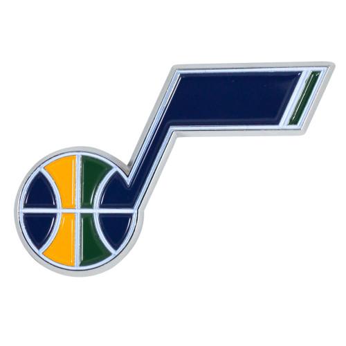 "Set of 2 Blue and Yellow NBA Utah Jazz Emblem Stick-on Car Decals 2"" x 3"" - IMAGE 1"