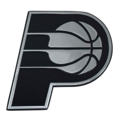 """Set of 2 Black and Silver NBA Indiana Pacers 3D Emblem Stick-on Car Decals 3"""" x 3"""" - IMAGE 1"""