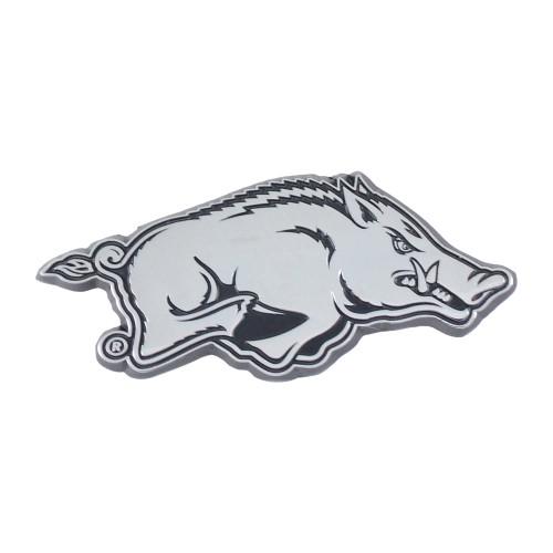 """Set of 2 White NCAA University of Arkansas Razorbacks Emblem Automotive Stick-On Car Decals 1"""" x 3"""" - IMAGE 1"""