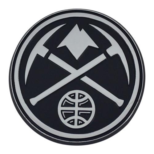 "Set of 2 Black and Gray NBA Denver Nuggets Emblem Automotive Stick-On Car Decals 3"" x 3"" - IMAGE 1"