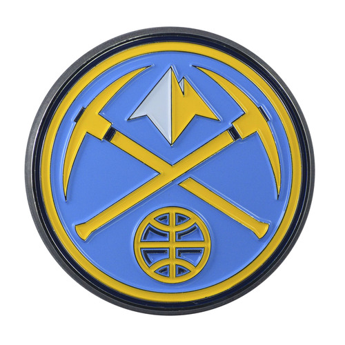 """Set of 2 Blue and Yellow NBA Denver Nuggets Emblem Stick-on Car Decals 3"""" x 3"""" - IMAGE 1"""