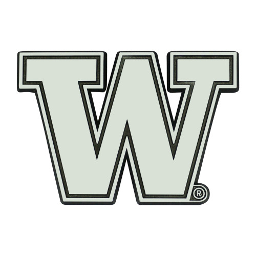 "Set of 2 Silver and Black NCAA University of Washington Huskies Emblem Stick-On Car Decals 3"" x 3"" - IMAGE 1"