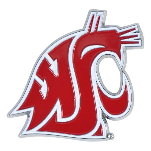"Set of 2 Red NCAA Washington State University Cougars Stick-on Car Decals 3"" x 3"" - IMAGE 1"