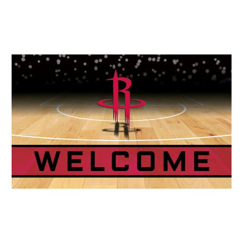 """Red and Black NBA Houston Rockets """"Welcome"""" Rectangular Outdoor Door Mat 18"""" x 30"""" - IMAGE 1"""