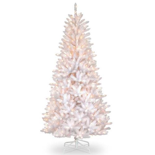 7.5 ft. Pre-lit Dunhill White Iridescent Slim Fir Artificial Christmas Tree - Clear Lights - IMAGE 1