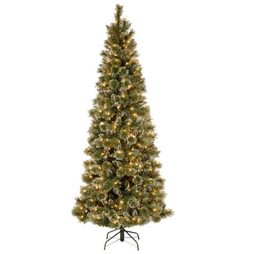 7.5' Pre-Lit Glittery Bristle Artificial Christmas Tree – Warm White LED Lights - IMAGE 1