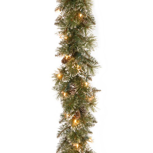 """72"""" Pre-Lit Glittery Bristle Pine Artificial Christmas Garland - LED Lights Battery Operated - IMAGE 1"""