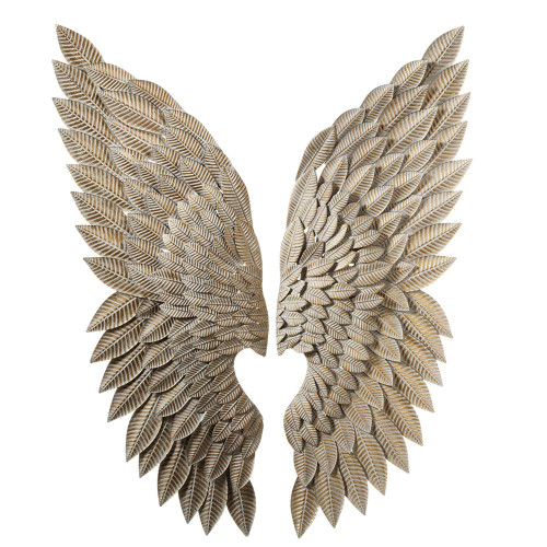 """Set of 2 Assorted Antique Style Brown and Whitewash Gold Angel Wing Wall Decorations 43.75"""" - IMAGE 1"""