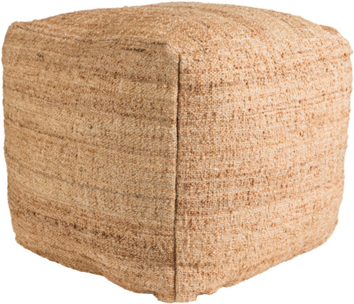 """18"""" Sandy Brown Woven Square Indoor Pouf Ottoman with Knife Edge - IMAGE 1"""