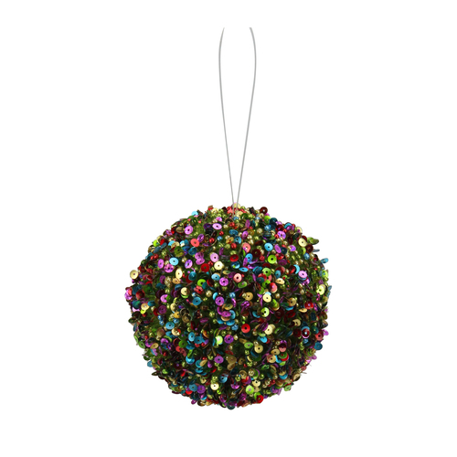 """Green and Pink Shatterproof 2-Finish Christmas Ball Ornament 4"""" (100mm) - IMAGE 1"""