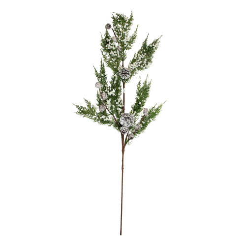 34'' White and Green Pine Cones Glittered Artificial Christmas Spray - IMAGE 1