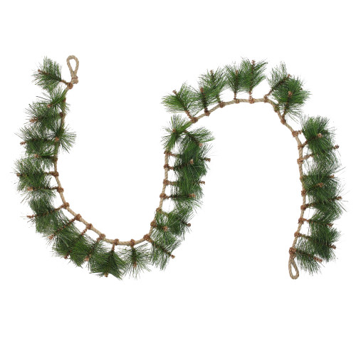 """6' x 5"""" Long Needle Pine and Rope Rustic Artificial Christmas Garland - Unlit - IMAGE 1"""