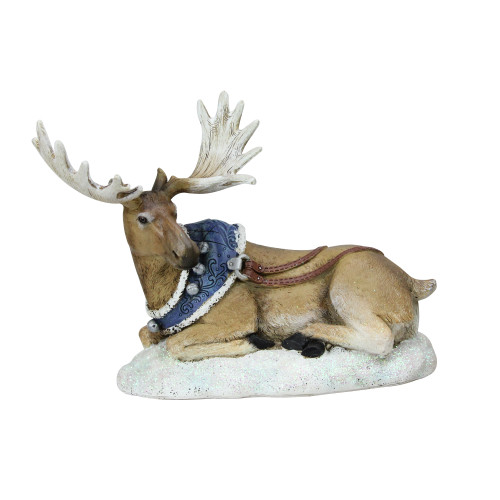 """6.5"""" Brown and Blue Resting Moose with Blue Harness Christmas Tabletop Figurine - IMAGE 1"""