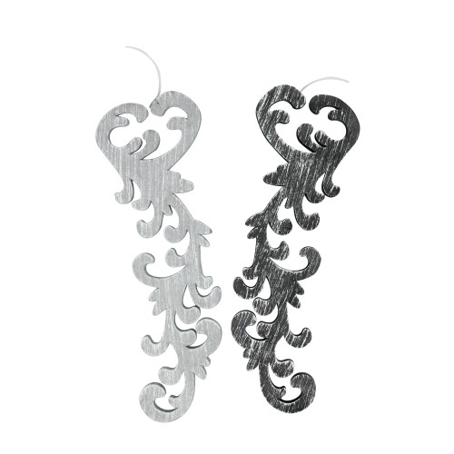 """Set of 2 Black and Gray Scrollwork Christmas Ornaments 10.5"""" - IMAGE 1"""