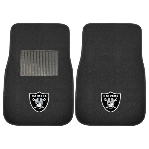 NFL Oakland Raiders 2-PC Embroidered Front Car Mat Set, Universal Size - IMAGE 1