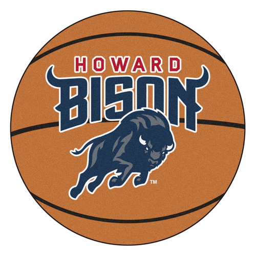 """27"""" Brown and Blue NCAA Howard University Bison Round Mat Area Rug - IMAGE 1"""