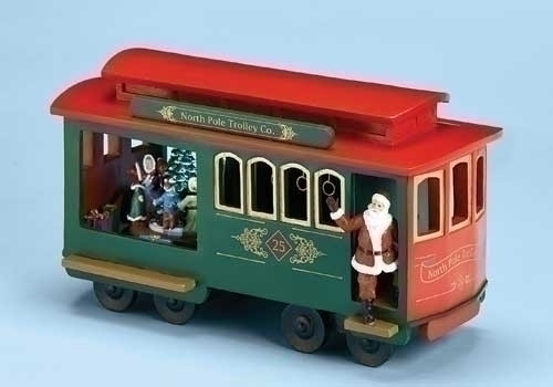 "Set of 2 Musical Lighted North Pole Trolley Cart with Santa Claus Christmas Decoration 11.25"" - IMAGE 1"