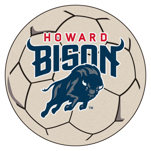 """27"""" Blue and Red NCAA Howard University Bison Round Mat Area Rug - IMAGE 1"""