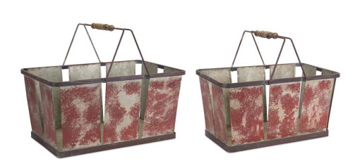 """Set of 2 Tortilla Brown Decorative Pail with Handles 18.5"""" - IMAGE 1"""