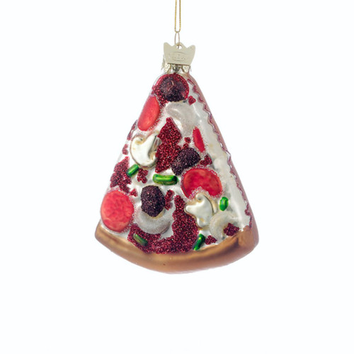 "Pack of 8 Glass Blown Pizza Slice Shaped Christmas Ornaments 3.5"" - IMAGE 1"