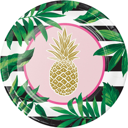 "Club Pack of 96 Green and Pink Pineapple Wedding Foil Banquet Disposable Plates 10.1"" - IMAGE 1"